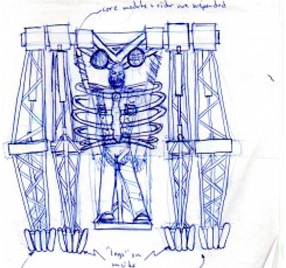 Esboço de The Gorilla máquina de passeio idealizada pelo artista e engenheiro Jonathan Tippett