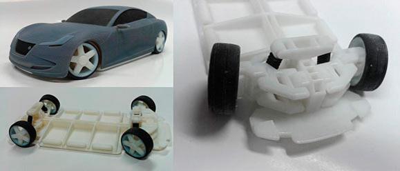 Para a impressão 3D das diferentes partes do carro a equipe utilizou vários tipos de materiais PolyJet