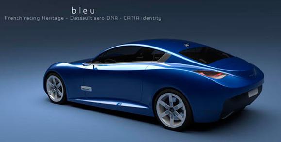 Rendering artístico do modelo final do carro final concebido do CATIA