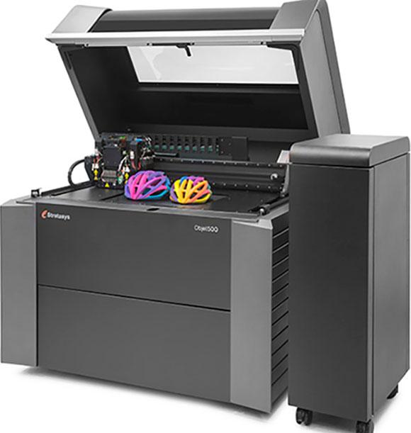 Impressora Objet Connex 500 funciona com a tecnologia Polyjet imprimindo com multimateriais