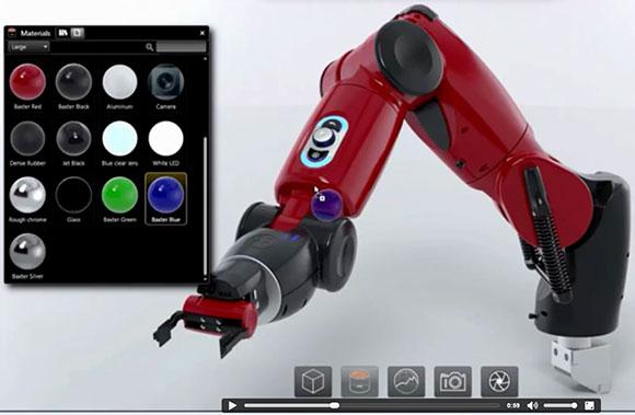 SolidWorks Visualiza permite usar múltiplas câmeras e aplicar diferentes cores e texturas