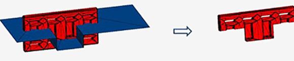 Seccionamento um corpo facetado (vermelho) com uma folha faceta (azul)